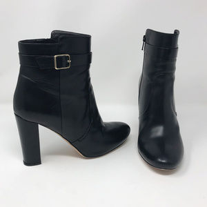 J. Crew Collection Black Leather High Heel Booties